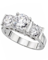Charter Club Three Stone Cubic Zirconia Ring Slv Clr