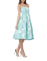 Js Collections Strapless Jacquard Fit And Flare Dress Sea Blue