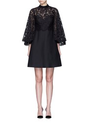 Valentino Lace Cape Sleeve Crepe Couture Dress Black