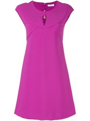 Versace Collection Keyhole Detail Dress Pink And Purple