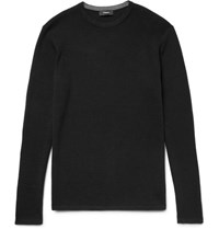 Theory Savaro Honeycomb Knit Cotton Sweater Black