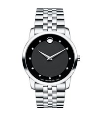Movado Museum Classic Diamond And Stainless Steel Bracelet Watch Silver
