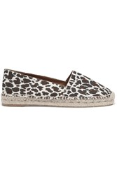 Stella Mccartney Leopard Print Canvas Espadrilles White