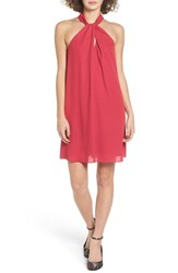 Soprano Women's Knotted High Neck Shift Dress Rose Berry