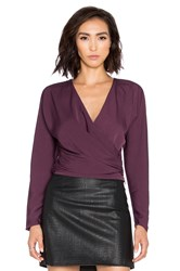 Bobi Black Georgette Long Sleeve Wrap Crop Top Purple