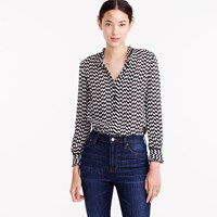 J.Crew Silk Button Up In Geometric Houndstooth