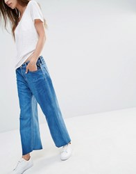 Replay Wide Leg Cropped High Rise Jeans Retro Blue