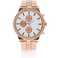 River Island Womens Rose Gold Tone Embellished Watch
