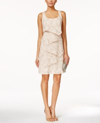 Ronni Nicole Tiered Sequined Lace Sheath Dress Light Beige
