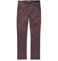 Acne Studios Max Satin Slim Fit Cotton Blend Trousers Purple