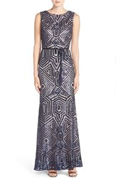 Vince Camuto Women's Geometric Sequin Gown