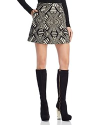 Alice Olivia Loran Patterned Mini Skirt Black Cream