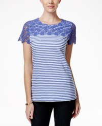 Charter Club Striped Lace Yoke Tee Only At Macy's
