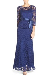 Women's Chetta B Peplum Lace Mermaid Gown Navy