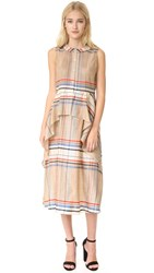 Suno Cascade Peplum Dress Cream Blue Plaid