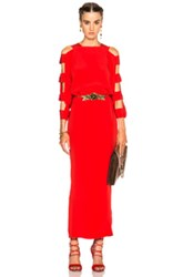 Alessandra Rich Silk Cut Out Sleeve Dress In Red