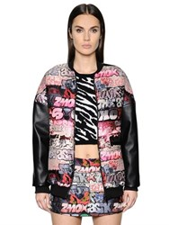 Giamba Faux Leather Sleeves Jacquard Bomber