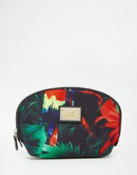 Love Moschino Tropical Print Canvas Cosmetic Case Black