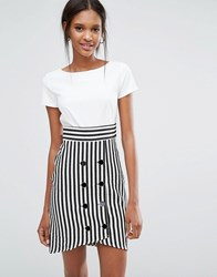 Closet London Tie Back Stripe Button Dress Black And White Multi