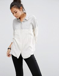 Asos Colour Block Soft Twill Boyfriend Shirt Grey Cream