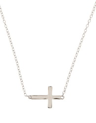 Lord And Taylor Sterling Silver Sideways Cross Necklace
