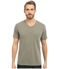 7 For All Mankind Short Sleeve Raw V Neck Dark Sage Men's Clothing Gray