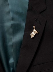 Topman Silver Gold Look Stag Origami Brooch