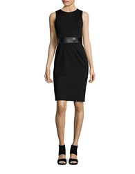 Design Lab Lord And Taylor Faux Leather Panelled Midi Dress Black