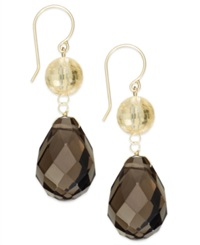 Macy's Lemon And Smoky Quartz Drop Earrings In 14K Gold 31 Ct. T.W.