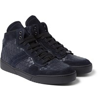 Bottega Veneta Suede Trimmed Intrecciato Leather High Top Sneakers Midnight Blue