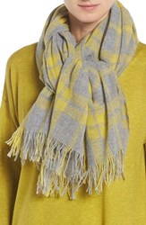 Eileen Fisher Women's Soft Wool And Cashmere Plaid Scarf Fern