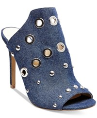 Steve Madden Women's Sooki G Grommet Peep Toe Mules Women's Shoes Denim