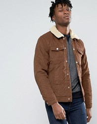 Pull And Bear Pullandbear Cord Jacket In Tan With Faux Sherling Collar Tan
