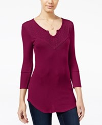 Almost Famous Juniors' Waffle Knit Top With Lace Back Burgundy