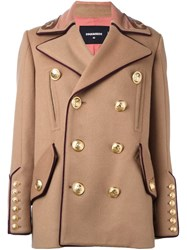 Dsquared2 'Military' Double Breasted Coat Nude Neutrals