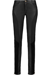 Emilio Pucci Suede Paneled Leather Skinny Pants