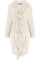 Maje Fringed Knitted Cardigan Ecru