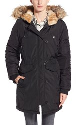 Women's Steve Madden Three Quarter Length Satin Parka With Faux Fur Trim Black