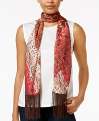 Inc International Concepts Snakeskin Print Fringe Wrap Only At Macy's Wine