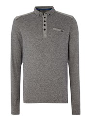 Duck And Cover Foxtrot Long Sleeve Carbonic Polo Shirt Black
