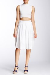 Susina Novelty Hem Skirt Petite White