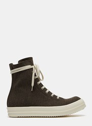 Rick Owens Dna Dust Vegan High Top Sneakers Brown