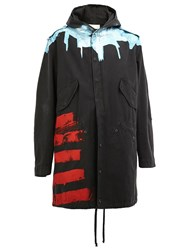 Faith Connexion Hooded Printed Parka Coat Black