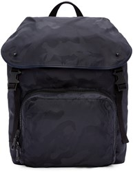 Valentino Navy Nylon Camo Backpack