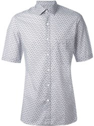 Lanvin Chevron Print Short Sleeve Shirt Grey