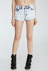 Forever 21 Cloud Wash Distressed Cutoffs Light Denim