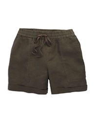 Lord And Taylor Petite Linen Drawstring Shorts Dark Olive
