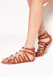 Missguided Rope Detail Flat Gladiator Sandal Tan Brown