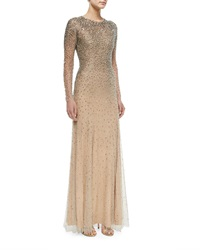 Jenny Packham Long Sleeve Embellished Gown Silver