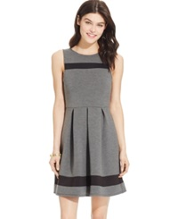 Speechless Juniors' Pleated Illusion Scuba Dress Grey Black